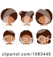 Clipart Cute Black Girl With Six Different Hair Styles Royalty Free Vector Illustration by Melisende Vector #COLLC1083445-0068