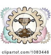 Steampunk Robot Inside Colorful Gears