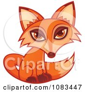 Clipart Cute Orange Fox Seated Royalty Free Vector Illustration