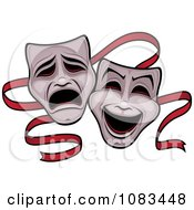 Clipart Comedy And Tragedy Theater Masks And Red Ribbon Royalty Free Vector Illustration