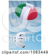 Clipart Italian Flag Parachute With A 3d Euro Symbol Against The Sky Royalty Free CGI Illustration