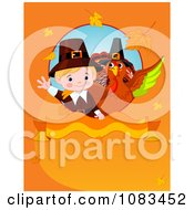 Clipart Thanksgiving Pilgrim And Turkey On An Orange Autumn Background Royalty Free Vector Illustration by Pushkin
