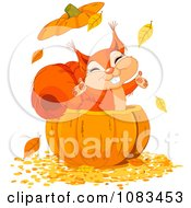 Clipart Happy Squirrel With Autumn Leaves In A Pumpkin Royalty Free Vector Illustration