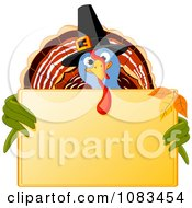 Clipart Pilgrim Thanksgiving Turkey Holding A Gold Sign Royalty Free Vector Illustration