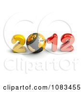 Clipart 3d Gold And Red 2012 With A Globe Royalty Free CGI Illustration