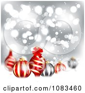 Clipart Christmas Background With 3d Ornaments Over Silver And Snow Royalty Free Illustration by vectorace