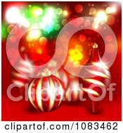 Clipart Christmas Background With 3d Ornaments Over Red Royalty Free Illustration by vectorace