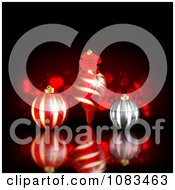 Clipart Christmas Background With 3d Ornaments Over Black With Sparkles Royalty Free Illustration by vectorace