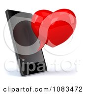 Clipart 3d Red Heart Chat Bubble And Cell Phone Royalty Free CGI Illustration by Julos