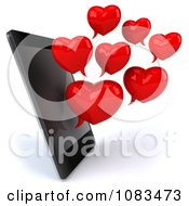 Clipart 3d Red Heart Chat Bubbles And Cell Phone Royalty Free CGI Illustration by Julos