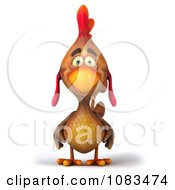 Clipart 3d Brown Cock Rooster Royalty Free CGI Illustration by Julos