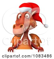 Clipart 3d Red Christmas Dragon With A Sign 1 Royalty Free CGI Illustration