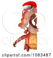 Clipart 3d Red Christmas Dragon With A Sign 2 Royalty Free CGI Illustration