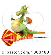 Clipart 3d Dragon With Champange And A Rocket 1 Royalty Free CGI Illustration