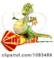 Clipart 3d Dragon With Champange And A Rocket 2 Royalty Free CGI Illustration