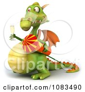 Clipart 3d Dragon With Champange And A Rocket 3 Royalty Free CGI Illustration