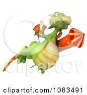 Clipart 3d Dragon With Champange And A Rocket 4 Royalty Free CGI Illustration