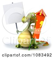 Clipart 3d Dragon With Sign And A Rocket Royalty Free CGI Illustration