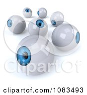 Clipart 3d Blue Eyeballs Looking Around Royalty Free CGI Illustration