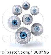 Clipart 3d Floating Blue Eyeballs 1 Royalty Free CGI Illustration