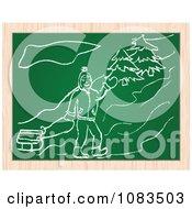 Clipart Man Sledding Chalkboard Drawing Royalty Free Vector Illustration