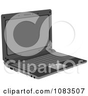 Clipart Open Gray Laptop Royalty Free Vector Illustration by Andrei Marincas