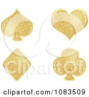 Clipart Gold Mosaic Playing Card Poker Suit Symbols Royalty Free Vector Illustration