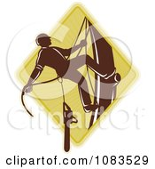 Clipart Retro Tree Arborist Climbing With A Chainsaw 3 Royalty Free Vector Illustration by patrimonio #COLLC1083529-0113