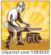 Retro Tree Arborist Holding A Chainsaw Over A Stump