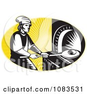 Clipart Retro Medieval Baker Using A Bread Pan Royalty Free Vector Illustration