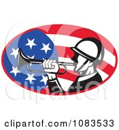 Clipart Retro Soldier Playing A Bugle Over An American Flag Royalty Free Vector Illustration