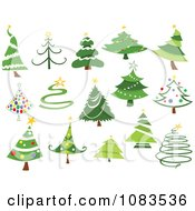 Clipart Variety Of Christmas Tree Designs Royalty Free Vector Illustration by yayayoyo