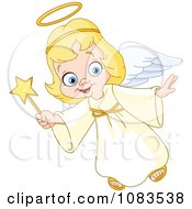 Clipart Cute Christmas Angel Girl Flying With A Wand Royalty Free Vector Illustration