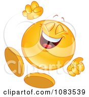 Clipart Happy Emoticon Jumping Royalty Free Vector Illustration