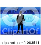 Clipart Businessman Standing Over A Blue World Map Royalty Free Vector Illustration by mayawizard101