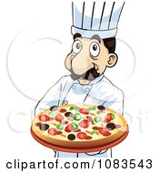 Clipart Chef Holding A Steaming Hot Pizza Pie Royalty Free Vector Illustration by mayawizard101