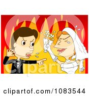 Clipart Bride And Groom Screaming Against Flames Royalty Free Vector Illustration