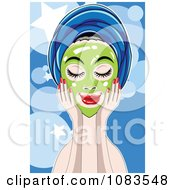 Clipart Woman With A Green Facial Mask Over Blue Royalty Free Vector Illustration