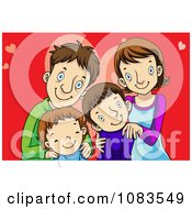 Clipart Happy Family Over Red With Hearts Royalty Free Vector Illustration by mayawizard101