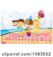 Clipart Boys Standing On A Towel At A Beach Birthday Party Royalty Free Vector Illustration by mayawizard101