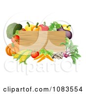 Clipart 3d Wooden Sign With Fresh Veggies Royalty Free Vector Illustration by AtStockIllustration