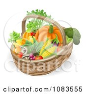 Clipart 3d Veggie Packed Basket Royalty Free Vector Illustration by AtStockIllustration