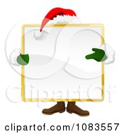 Clipart Santa Standing Behind A Large Square Sign Royalty Free Vector Illustration