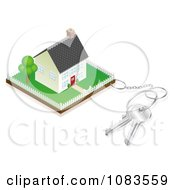 Clipart 3d Keyring Attached To A Property With A House Royalty Free Vector Illustration