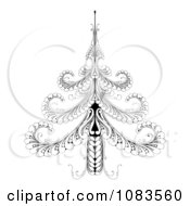 Clipart Ornate Black And White Swirl Christmas Tree Royalty Free Vector Illustration