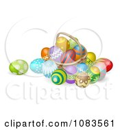 Clipart 3d Straw Easter Basket With Eggs Royalty Free Vector Illustration