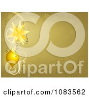 Clipart Gold Swirl And Snowflake Christmas Background With Baubles Royalty Free Vector Illustration by AtStockIllustration