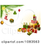 Clipart Stack Of 3d Gifts Under A Christmas Tree With Festive Ornaments Royalty Free Vector Illustration