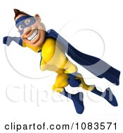 Clipart 3d Male Super Hero Flying In A Blue And Yellow Suit 3 Royalty Free CGI Illustration
