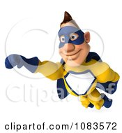 Clipart 3d Male Super Hero Flying In A Blue And Yellow Suit 4 Royalty Free CGI Illustration